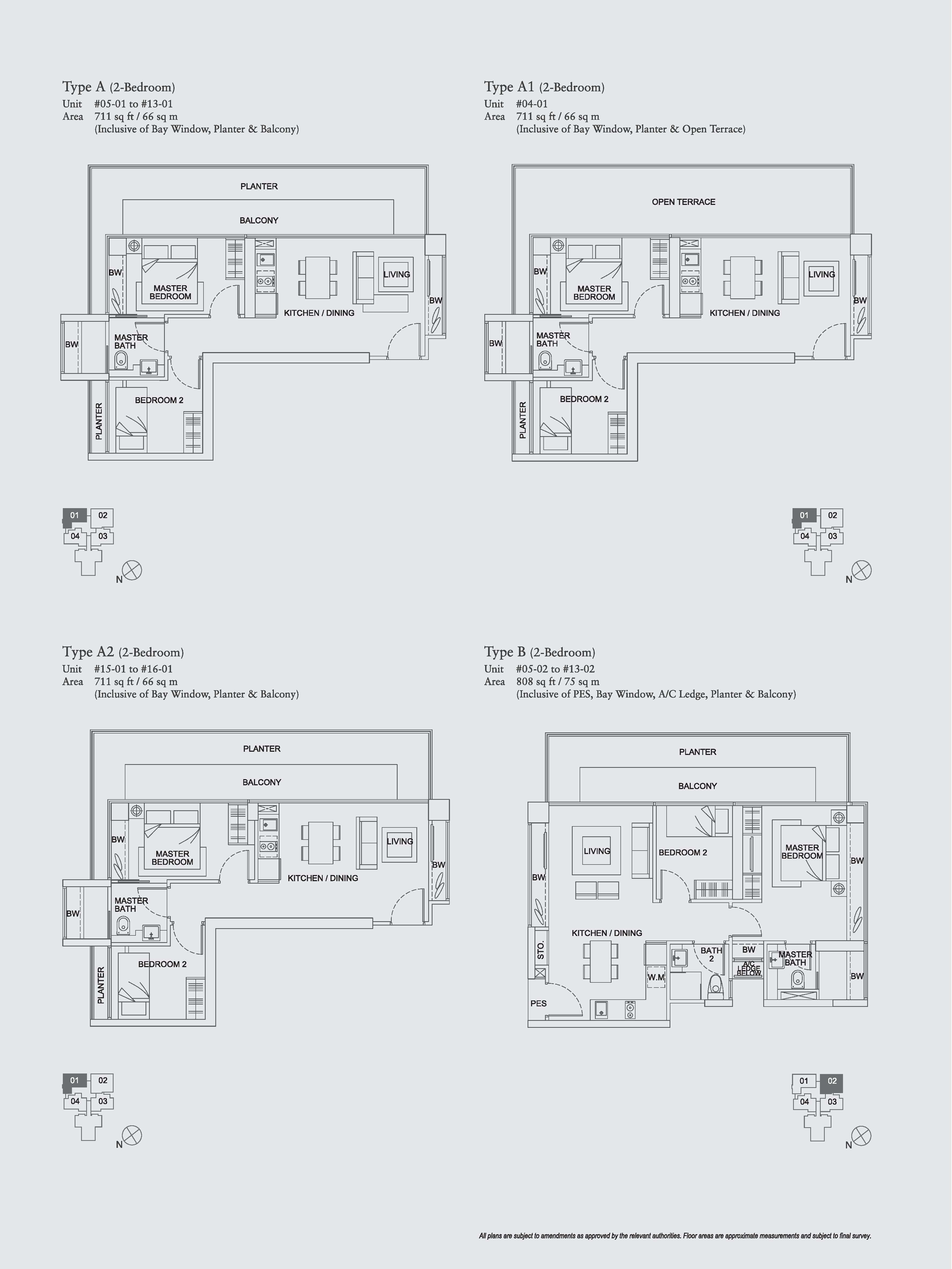 The Aristo 2 Bedroom Floor Plans Type A, A1, A2, B