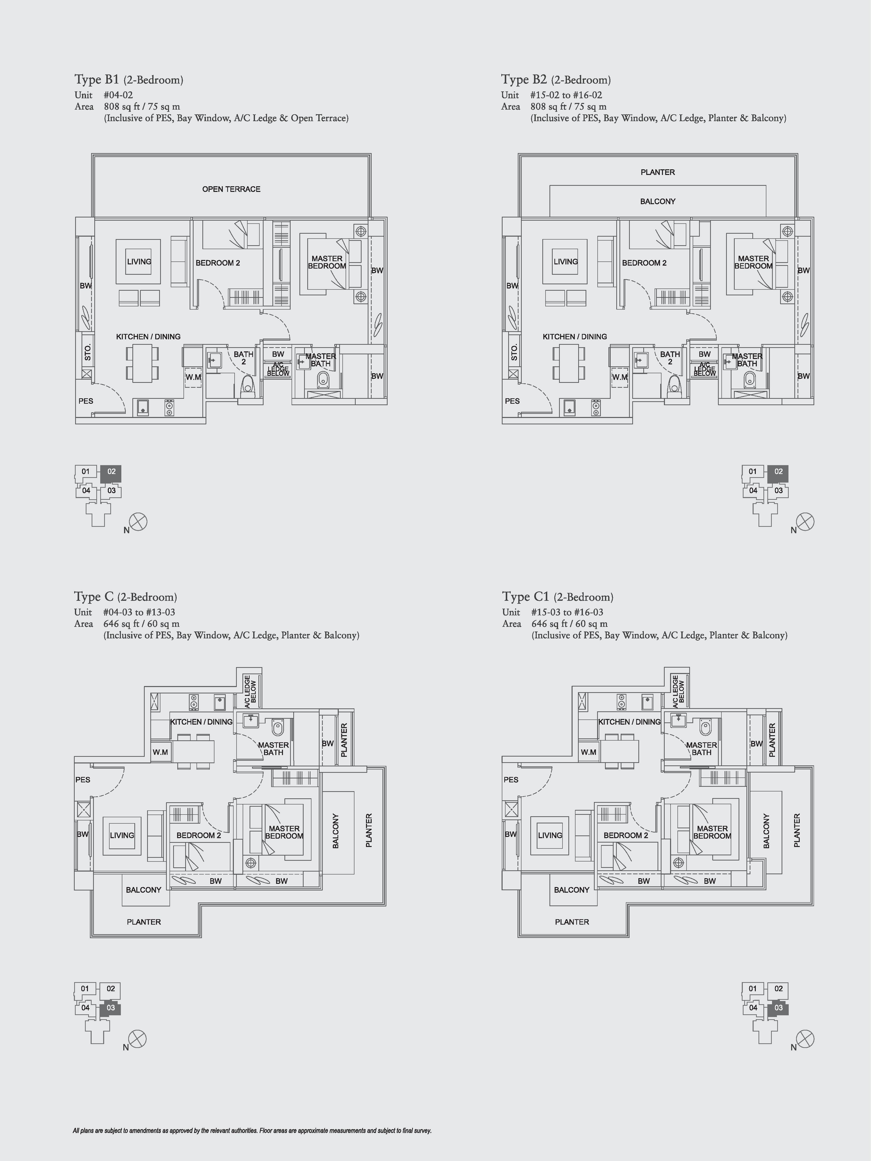 The Aristo 2 Bedroom Floor Plans Type B1, B2, C, C1