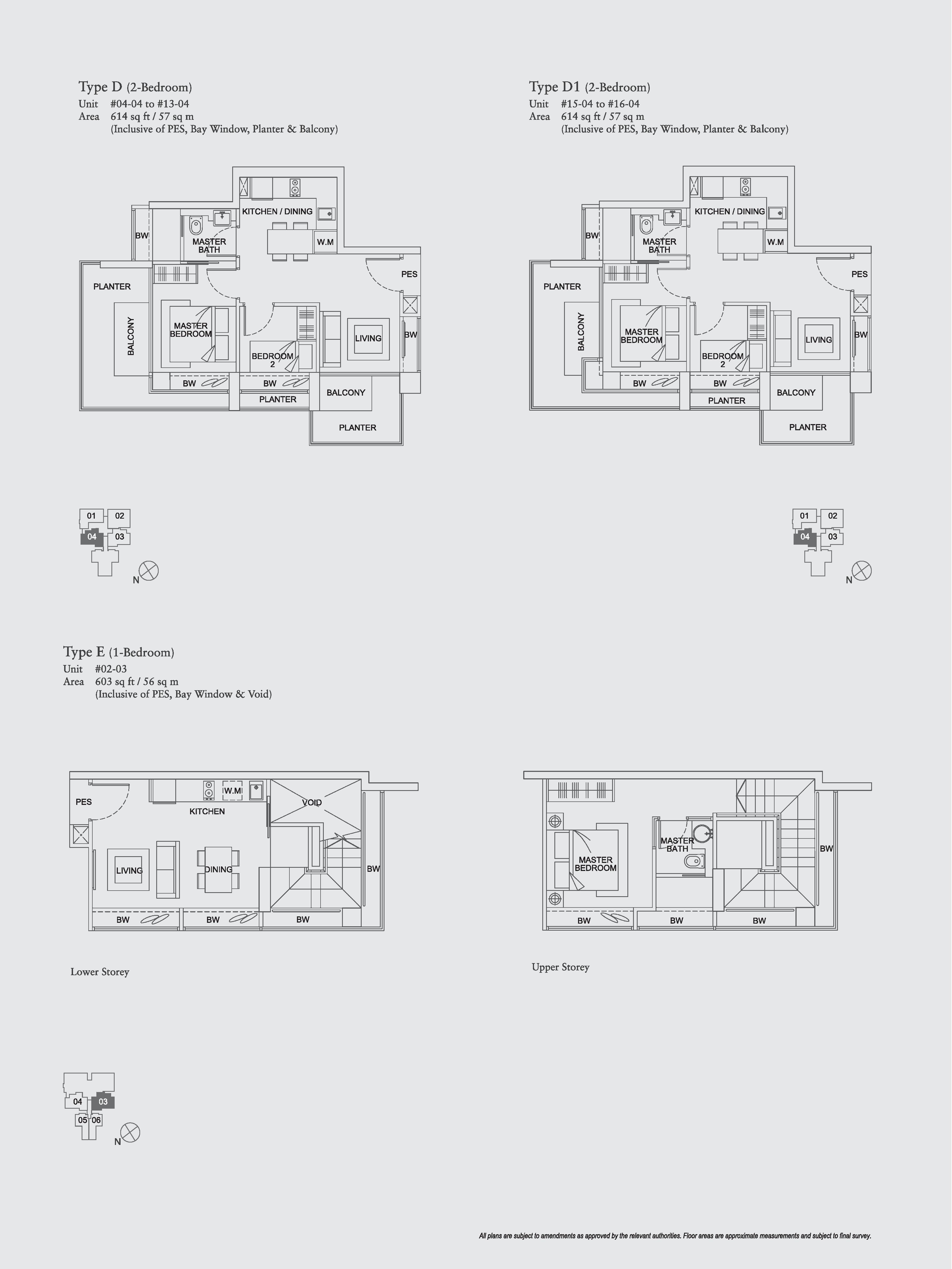 The Aristo 1/2 Bedroom Floor Plans Type D, D1, E
