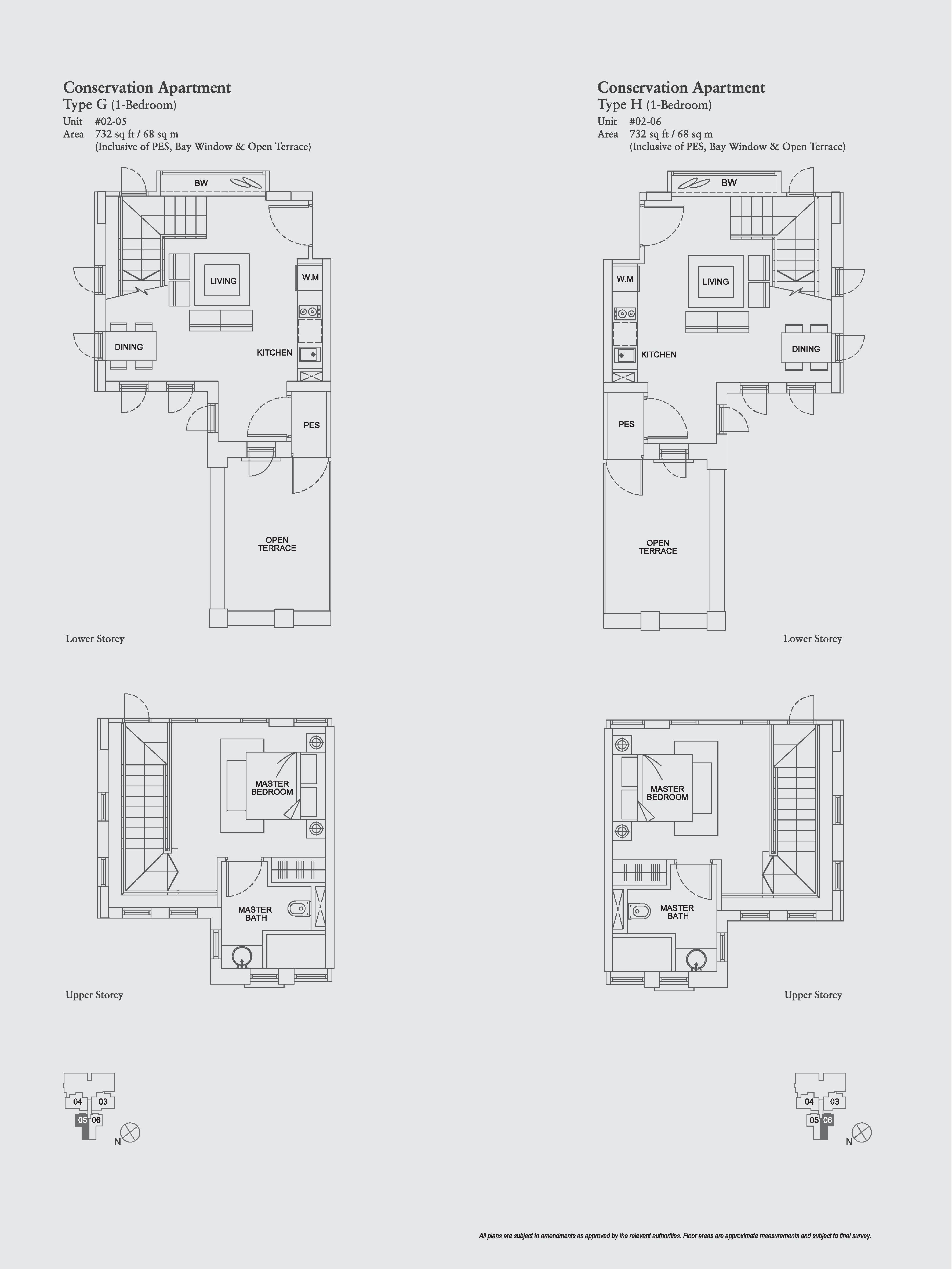 The Aristo 1 Bedroom Conservation Apartment Floor Plans Type G, H