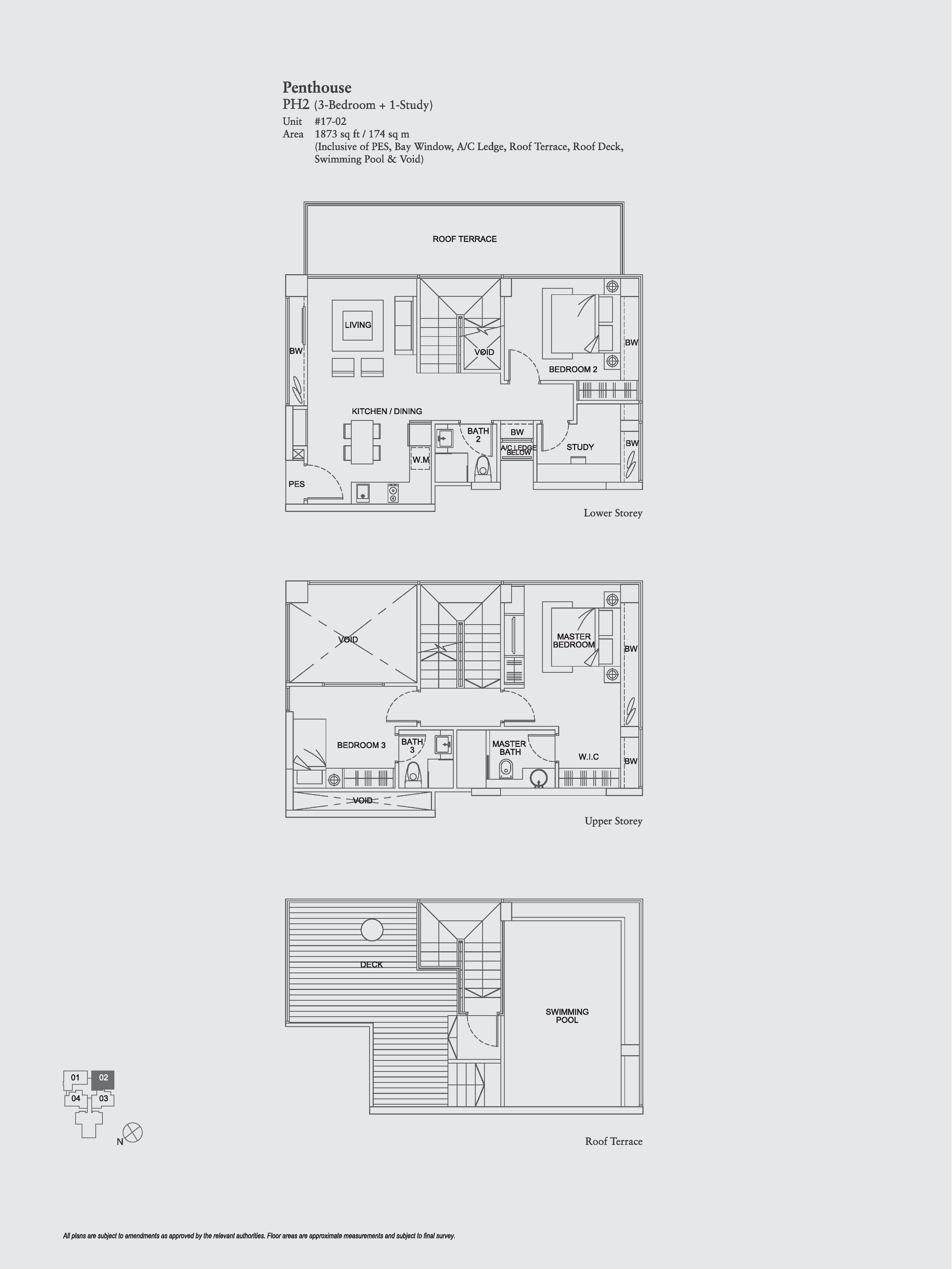 The Aristo 3 Bedroom + Study Floor Plans Type PH2