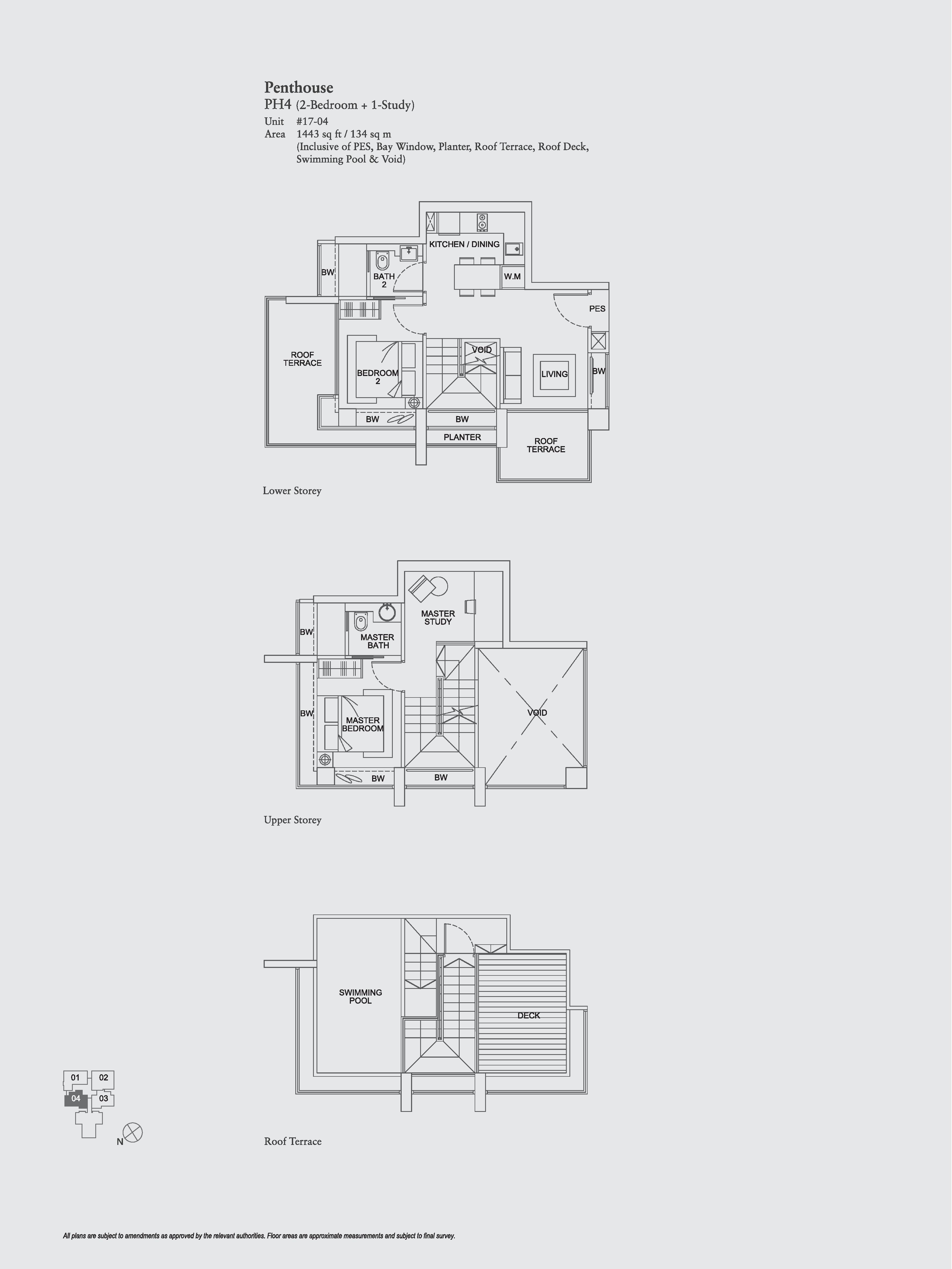 The Aristo 2 Bedroom + Study Floor Plans Type PH4
